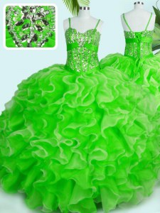 Lace Up Spaghetti Straps Beading and Ruffles Sweet 16 Dresses Organza Sleeveless
