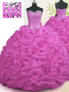 Fuchsia Sleeveless Organza Brush Train Lace Up Sweet 16 Dress for Military Ball and Sweet 16 and Quinceanera