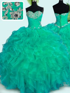 Popular Turquoise Quince Ball Gowns Military Ball and Sweet 16 and Quinceanera and For with Beading and Ruffles Sweetheart Sleeveless Lace Up
