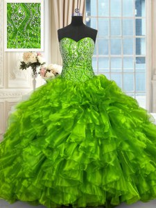Ball Gowns Sleeveless Quinceanera Dress Brush Train Lace Up