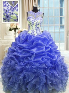On Sale Blue Scoop Neckline Beading and Ruffles Quinceanera Gown Sleeveless Zipper