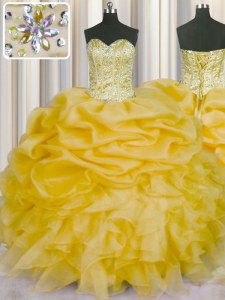 Gold Lace Up Quinceanera Gowns Beading and Ruffles and Pick Ups Sleeveless Floor Length