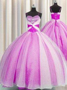 Fuchsia Ball Gowns Spaghetti Straps Sleeveless Organza Floor Length Lace Up Beading and Sequins and Ruching Sweet 16 Quinceanera Dress