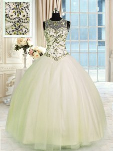 Champagne Scoop Neckline Beading Quinceanera Gowns Sleeveless Lace Up