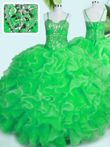 Modest Floor Length Lace Up 15th Birthday Dress Green for Military Ball and Sweet 16 and Quinceanera with Beading and Ruffles