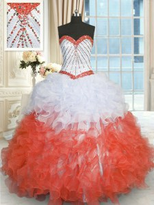 White And Red Sweetheart Neckline Beading and Ruffles 15th Birthday Dress Sleeveless Lace Up