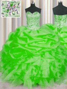 Low Price Sleeveless Beading and Ruffles and Pick Ups Floor Length Sweet 16 Dress
