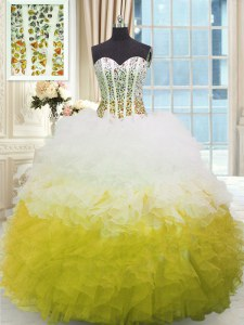 High Quality Organza Sweetheart Sleeveless Lace Up Beading and Ruffles Sweet 16 Quinceanera Dress in Multi-color
