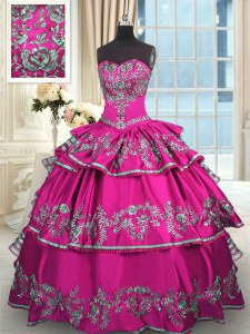 Trendy Fuchsia Lace Up Sweetheart Embroidery and Ruffled Layers Quince Ball Gowns Satin Sleeveless
