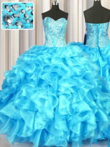 Custom Made Sweetheart Sleeveless Lace Up 15 Quinceanera Dress Aqua Blue Organza