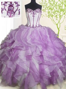 Floor Length White And Purple 15th Birthday Dress Sweetheart Sleeveless Lace Up