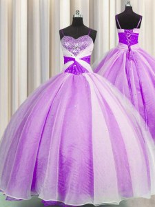 Spaghetti Straps Floor Length Lilac Quince Ball Gowns Organza Sleeveless Beading and Sequins and Ruching