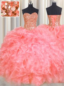 Beauteous Halter Top Sleeveless Floor Length Beading and Ruffles Lace Up 15 Quinceanera Dress with Watermelon Red