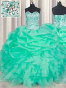 Beading and Ruffles and Pick Ups Quince Ball Gowns Turquoise Lace Up Sleeveless Floor Length
