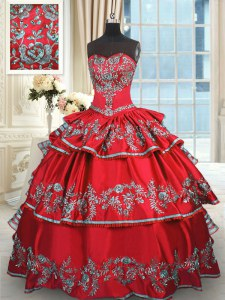 Colorful Ruffled Sweetheart Sleeveless Lace Up 15th Birthday Dress Red Taffeta