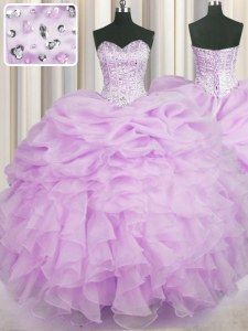Ideal Lilac Lace Up Sweetheart Beading and Ruffles Quinceanera Gown Organza Sleeveless