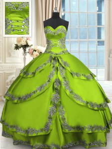 Deluxe Quinceanera Gown For with Beading and Embroidery and Ruffled Layers Sweetheart Sleeveless Lace Up