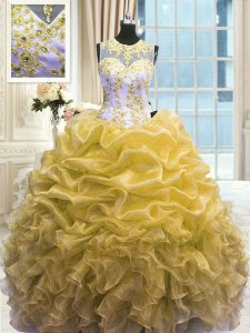 Gold Scoop Neckline Beading and Ruffles 15th Birthday Dress Sleeveless Zipper