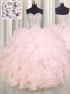 Cheap Sweetheart Sleeveless Lace Up Vestidos de Quinceanera Baby Pink Organza
