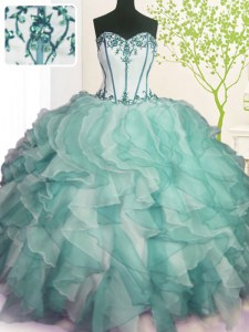 Popular Green Ball Gowns Beading and Ruffles Quinceanera Gowns Lace Up Organza Sleeveless Floor Length