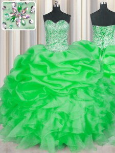 Green Ball Gowns Beading and Ruffles 15th Birthday Dress Lace Up Organza Sleeveless Floor Length