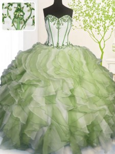 Lovely Ball Gowns 15th Birthday Dress Multi-color Sweetheart Organza Sleeveless Floor Length Lace Up