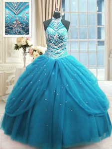 Sleeveless Tulle Floor Length Lace Up Quinceanera Gowns in Baby Blue with Beading