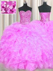 Lovely Lilac Sleeveless Beading and Ruffles Floor Length Quinceanera Dresses