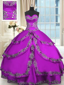 Purple Ball Gowns Beading and Embroidery and Ruffled Layers Quinceanera Dress Lace Up Taffeta Sleeveless Floor Length