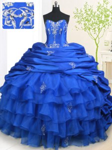 Superior With Train Royal Blue Ball Gown Prom Dress Organza and Taffeta Brush Train Sleeveless Beading and Appliques and Ruffled Layers and Pick Ups