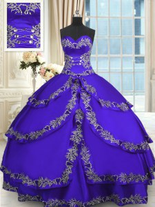 Designer Sweetheart Sleeveless Taffeta Sweet 16 Dresses Beading and Appliques and Ruffled Layers Lace Up