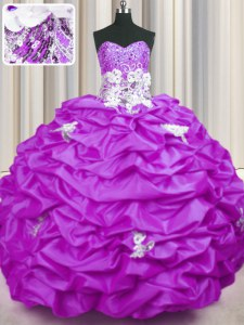 Sophisticated Lilac Sweetheart Neckline Appliques and Sequins and Pick Ups Quinceanera Dress Sleeveless Lace Up