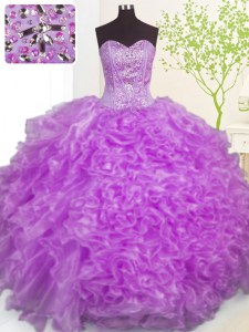 Fitting Purple Ball Gowns Beading and Ruffles and Pick Ups Sweet 16 Dress Lace Up Organza Sleeveless Floor Length