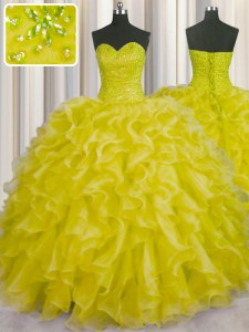 Yellow Sleeveless Organza Lace Up Quinceanera Gown for Military Ball and Sweet 16 and Quinceanera