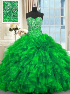 Dynamic Beading and Ruffles Quince Ball Gowns Green Lace Up Sleeveless Brush Train