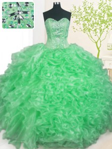 Luxury Pick Ups Sweetheart Sleeveless Lace Up Vestidos de Quinceanera Apple Green Organza