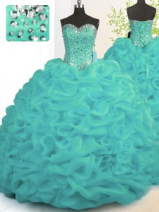 Artistic Sleeveless Brush Train Lace Up With Train Beading and Ruffles 15 Quinceanera Dress