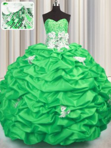 Lovely Ball Gowns Taffeta Sweetheart Sleeveless Appliques and Sequins and Pick Ups With Train Lace Up Ball Gown Prom Dress Brush Train