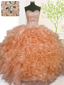 Orange Lace Up 15th Birthday Dress Beading and Ruffles and Pick Ups Sleeveless Floor Length