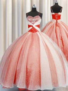 Fine Orange Red Organza Lace Up Ball Gown Prom Dress Sleeveless Floor Length Beading and Sequins and Ruching