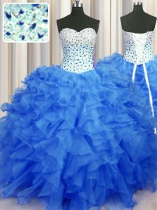 Sophisticated Blue Ball Gowns Sweetheart Sleeveless Organza Floor Length Lace Up Beading and Ruffles Sweet 16 Dress