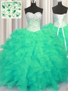 Sweetheart Sleeveless Quinceanera Dresses Floor Length Beading and Ruffles Turquoise Organza