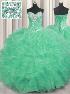 Apple Green Lace Up 15 Quinceanera Dress Beading and Ruffles Sleeveless Floor Length