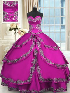 Elegant Floor Length Lace Up Quinceanera Dresses Fuchsia for Military Ball and Sweet 16 and Quinceanera with Beading and Embroidery