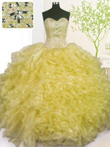 Sophisticated Sleeveless Floor Length Beading and Ruffles and Pick Ups Lace Up Ball Gown Prom Dress with Light Yellow