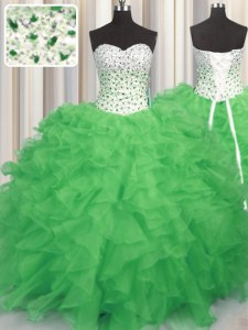 Best Selling Sleeveless Lace Up Floor Length Beading and Ruffles Quinceanera Gowns