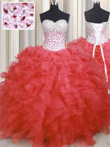 Most Popular Watermelon Red Sweetheart Lace Up Beading and Ruffles Quinceanera Gowns Sleeveless