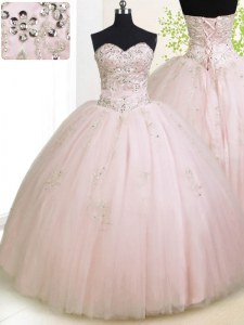 Fancy Floor Length Baby Pink Vestidos de Quinceanera Sweetheart Sleeveless Lace Up