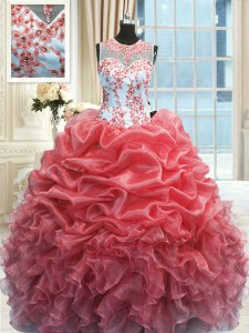 Floor Length Watermelon Red Sweet 16 Quinceanera Dress Scoop Sleeveless Zipper