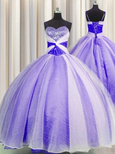 Noble Lavender Organza Lace Up Spaghetti Straps Sleeveless Floor Length Sweet 16 Quinceanera Dress Beading and Sequins and Ruching